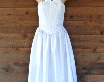 Vintage 1980s White taffeta strapless formal dress, Cue Design