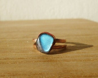Unique Labradorite Ring, Adjustable copper ring