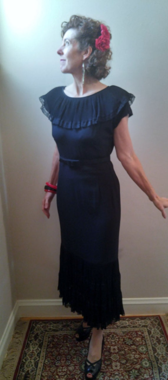 Reserved Vintage 1940s Black Rayon Dress Spanish Flare Small