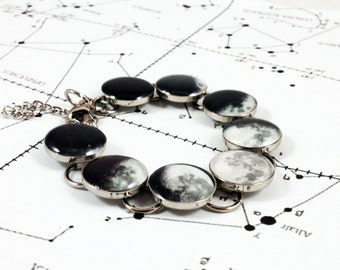 Accurate Phases of the Moon Bracelet - Silver or Copper