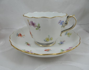 Antique Meissen Crossed Swords Old Scattered Flowers Teacup and Saucer Set - 3 Available