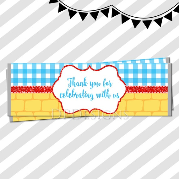 Wizard of Oz Chocolate Bar Wrappers - INSTANT DOWNLOAD