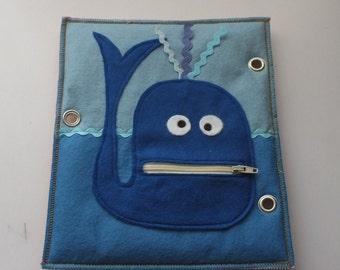 Quet Book-Activity Book-Busy Book-Felt book-Whale Zip Page
