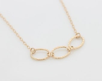 Gold Rings Necklace - Gold necklace with a hammered rings, Valentine's day gift