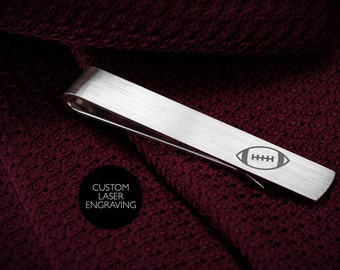 Custom Engraved tie clip - Personalized tie clip sterling silver - Tie bar engraved - American Football