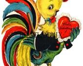Vintage Valentine Card Download Art Graphic Image printable Rooster