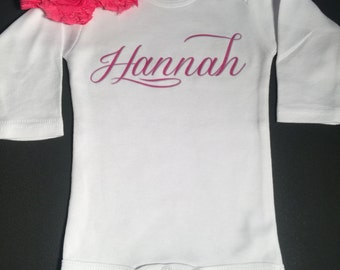 PERSONALIZED script name  with a matching double rosette headband cute novelty monogrammed gift