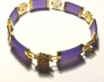 Purple agate bracelet with gold clasp