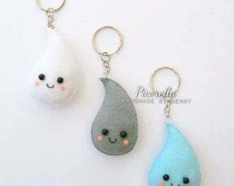 Felt Raindrop Droplet Keychain, Kawaii Raindrop, Felt Droplet, Felt Party Favor, Felt Baby Shower Favor, Felt Keychain, Felt Birthday Favor