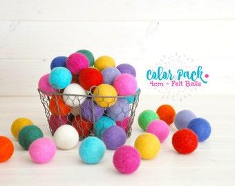 10 Jumbo Felt Balls - 4CM Wool Felt Balls - 100% Wool Felt Balls - (4cm/40mm) - Big Wool Felt Balls - Big Felted Balls - Wool Felt Pom Poms