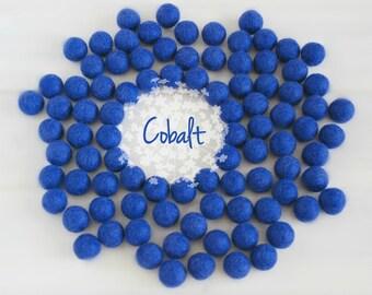 Wool Felt Balls - Size, Approx. 2CM - (18 - 20mm) - 25 Felt Balls Pack - Color Cobalt-2100 - Felt Balls - Pom Poms - Royal Blue Felt Balls