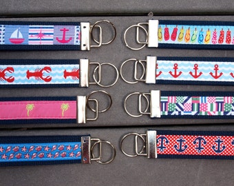 Nautical Key Fob / Summer Key Ring / Wristlet Key Chain / Beach Key Fob