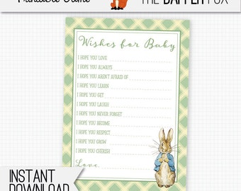 Peter Rabbit Baby Shower games Wishes for Baby - printable - Beatrix Potter Green Gender Neutral Boy Girl games for baby shower