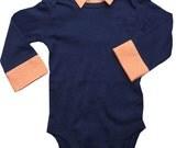 Onesie with Collar - Navy - Orange Gingham Faux Collar - Baby Boy - Dressy Onesie