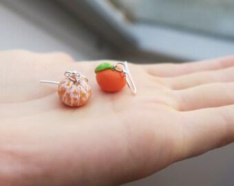 Tangerine Earrings, Sterling Silver, Orange Earrings, Miniature Clementine Earrings, Fruit Jewelry, Fruit Earrings, Food Jewelry