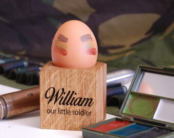 Our Little Soldier Egg Cup - Egg Holder - Personalised Egg Cup - New Baby Gift - Christening Gift -  Childrens Gift - Egg Lover - Kitchen