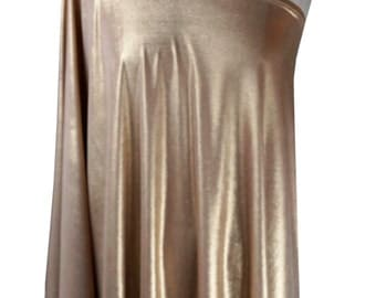 Baylis & Knight Gold Lame STUDIO 54 Batwing 70's Disco Queen Glam One Shoulder Bat Wing Dress Elegant (Smock)