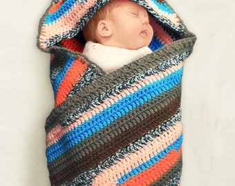 Crocheted hooded striped blue orange grey baby blanket