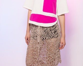 Sailboat Graphic Color Block Pink White Wide Neck Tee Shirt