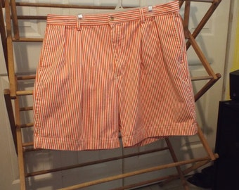 Nautica Shorts Orange and White Striped Size 40 Mens Fashion