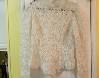 Lots Of Lace and Buttons Women's Boho Long Sleeve Blouse