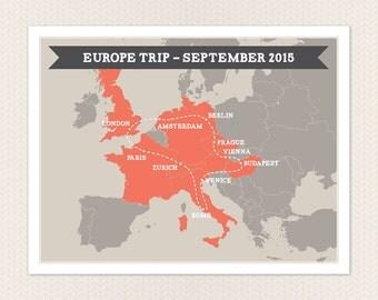 Personalised Europe Trip Map DIY printable poster
