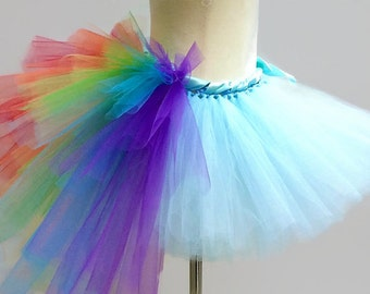 RAINBOW TUTU SKIRT w/ bustle tail, Children's Costume, Party, Little Pony, Unicorn, Toddler, Kids, Girls, Child, Dress Up, Play