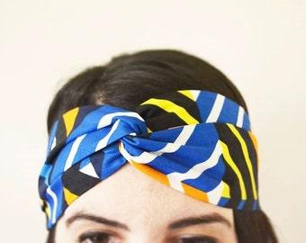 African Print Headband/ Ankara Headband/ Blue Geometric Print/ Vlisco / Turban Headband/ Fabric Headband/'Amara' Style