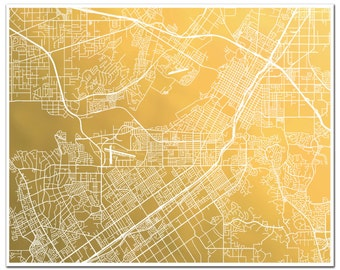 Riverside Map, Gold Foil Map of Riverside, CA, Gold Foil Print, Riverside Map Print, Gold Wall Art, Map of The City of Arts & Innovation