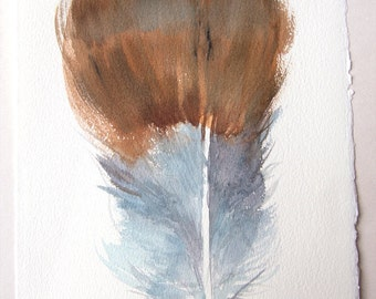 Watercolor feather illustration/ Brown blue fantasy feather drawing/ Home and Living/ Feather Wall Art/ Original watercolors/ Gift for him