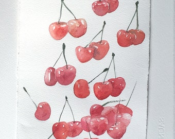 Cherries painting, Watercolor Painting original, Small Fruit Painting, Food Kitchen Wall Art 7,5'x11', Falling Cherries illustration,