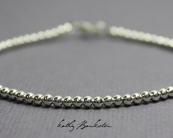 Silver Bead Bracelet, Small 2.5 mm Sterling Silver Bead Bracelet, Silver Beaded Bracelets, Silver Bracelet, Sterling Bracelet, Bead Bracelet
