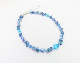 Blue stone necklace with crystal on silk thread, blue necklace, purple