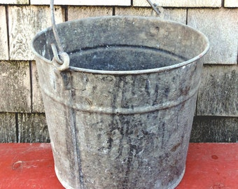 Galvanized Pail Rustic Wastepaper Bucket Nautical Trash Pail Office Organization