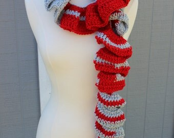 Crocheted Spiral Scarf - Red and Grey
