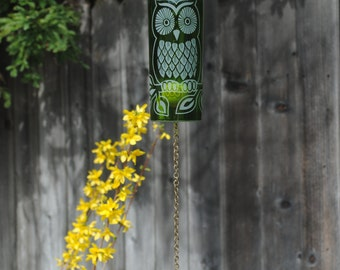 Sun Owl Wine Bottle Windchime - Garden Wine Bottle Recycle Special Event Wedding Shower Decor Decoration Nature Birding Fly Free Upcycled