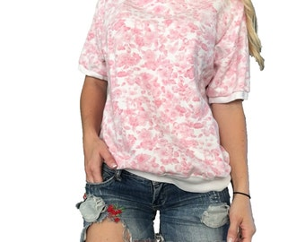 Pink Floral Sweater/ Flower Sweater/ Pink Sweater/ Pink and White Sweater/ Short Sleeve Sweater/ Collar Sweater/ Oversized Sweater/ Flowers