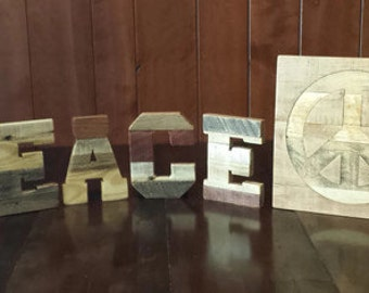 """Peace, wood letters, Inlaid peace sign, reclaimed pallet letters, 7"""" pallet letters, pallet word PEACE, rustic home decor, 12"""" peace sign"""