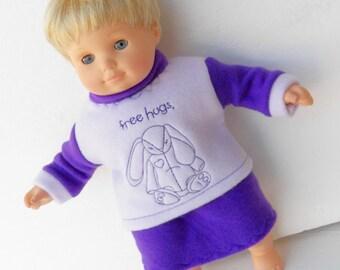 "Bitty Baby Clothes Handmade 15"" girl dolls Easter Bunny Purple Lavender Embroidered sweatshirt, skirt 2 pc set Polar fleece"