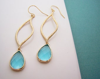 Blue Crystal Drop Gold Filled Earrings - Gold Filled Earrings - Drop Earrings - Dainty Earrings - Blue Earrings