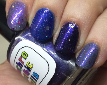 Celestial Temple Nail Polish - purple shimmer jelly with holographic glitter