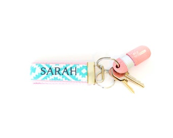 Monogrammed Mini Keychain Aztec Blue and Light Pink