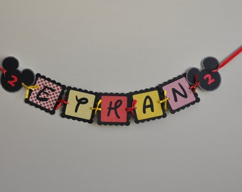 Mickey Mouse Name Banner, Mickey Mouse Birthday Banner