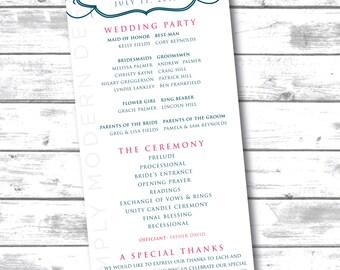 classic, elegant wedding program, ceremony program, PRINTABLE or PRINTED PROGRAMS