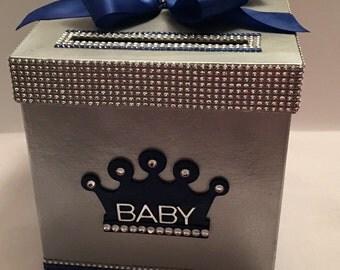 Silver Gold Royal Blue Royalty Card Box Bling Mesh Ribbon Money Holder
