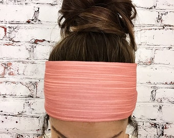 Yoga Headband - Bamboo Stripes - Coral - Eco Friendly