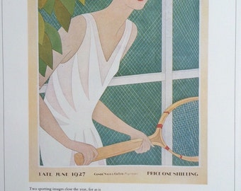 1930s Vintage Vogue Magazine Cover Print June 1927 by Meserole size 8 1/2 x 11 3/4 inches