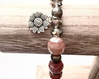 Sunflower Charm Bracelet, Glass Bead Bracelets, Stackable Bracelet, Bracelet Stack, Stretch Bracelets, Boho Chic