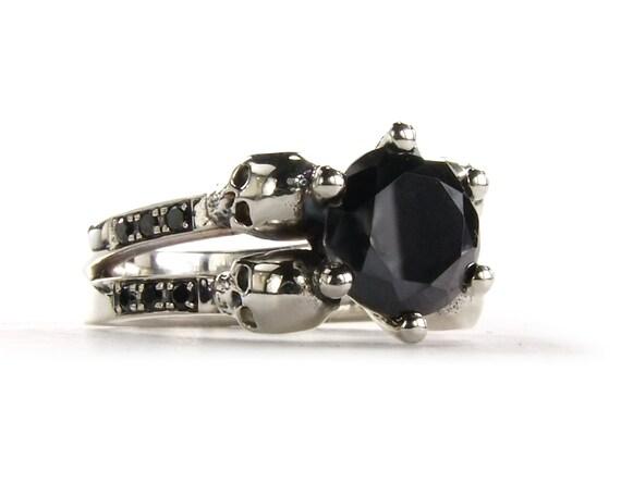 Skull Ring Black Diamond Skull Ring Goth by KipkalinkaJewels
