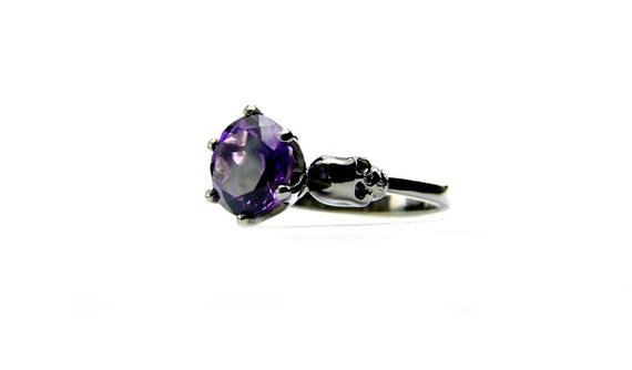 Black Gold Skull Engagement Ring Memento Mori Skull Jewel Ring Black Spinel Skull Ring Goth Engagement Gothabilly Psychobilly All Sizes